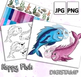 Happy Fish - DigiStamp Set