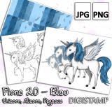 Fiona 2.0 - Unicorn, Alicorn, Pegasus - Blau - DigiStamp Set