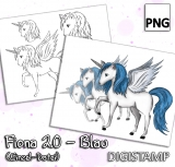 Fiona 2.0 - Unicorn, Alicorn, Pegasus - Blau - DigiStamp Einzeln