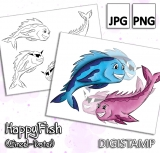 Happy Fish - DigiStamp Einzeln